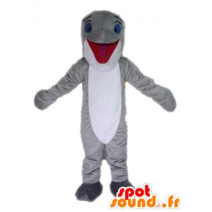 灰色と白のイルカのマスコット。巨大な魚のマスコット-MASFR028539-イルカのマスコット