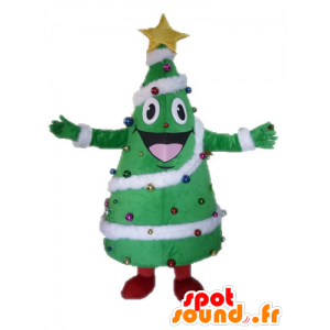 Joulukuusi koristeltu maskotti, jättiläinen ja hymyilevä - MASFR028542 - joulun Maskotteja