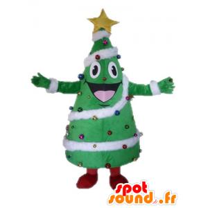 Kerstboom versierd mascotte, reus en glimlachen - MASFR028542 - Kerstmis Mascottes