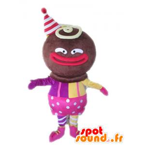 Afrikkalainen hahmo maskotti pukeutunut pinkki ja keltainen - MASFR028551 - Mascottes non-classées