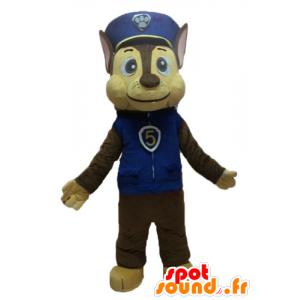 Brown dog mascot in police uniform - MASFR028557 - Dog mascots