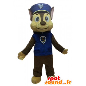 Brun hundmaskot i polisuniform - Spotsound maskot