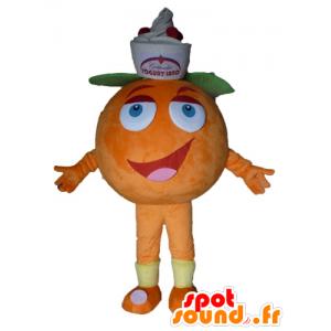 Giant orange mascot. Mascot fruity dessert - MASFR028563 - Fruit mascot