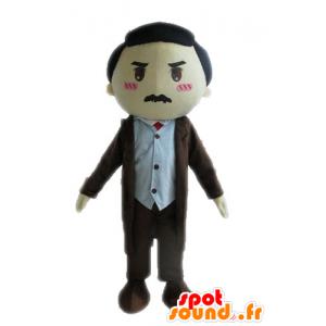 Mascotte d'homme en costume. Mascotte d'homme moustachu - MASFR028572 - Mascottes Homme
