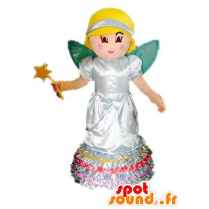 Mascot fata bionda. Principessa mascotte con le ali