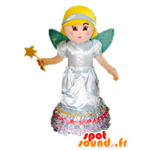 Mascotte blond fee. Princess Mascot met vleugels