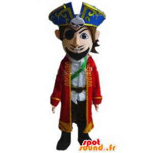 Piratmaskot i kostym. Kaptenmaskot - Spotsound maskot