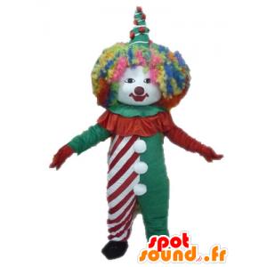 Mascotte de clown coloré. Mascotte de cirque