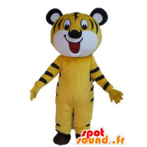 Mascot gelbe und schwarze Tiger. Katzen-Maskottchen - MASFR028587 - Tiger Maskottchen