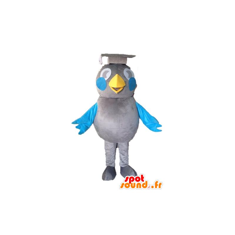 Maskotka szary i niebieski ptak. maskotka absolwent - MASFR028595 - ptaki Mascot
