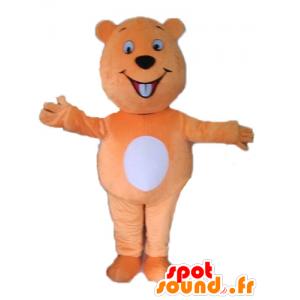 Mascotte de castor orange et blanc géant