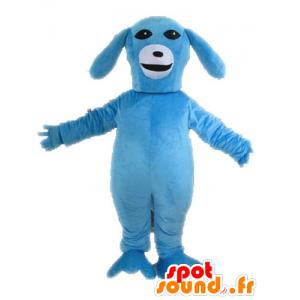 Niebieski i biały pies maskotka. niebieska maskotka zwierząt - MASFR028598 - dog Maskotki