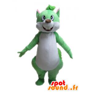 Vihreä ja valkoinen orava maskotti, jättiläinen - MASFR028601 - maskotteja orava