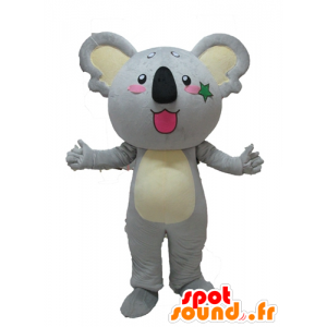 Mascot gray and yellow koala, giant cute