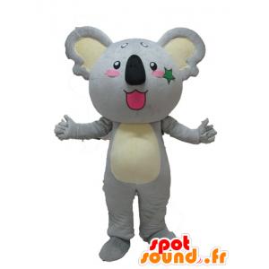 Mascotte de koala gris et jaune, géant et mignon