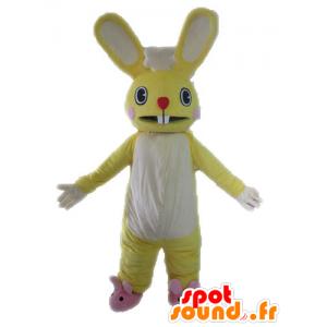 Giallo e mascotte coniglio bianco, gigante e divertente - MASFR028612 - Mascotte coniglio