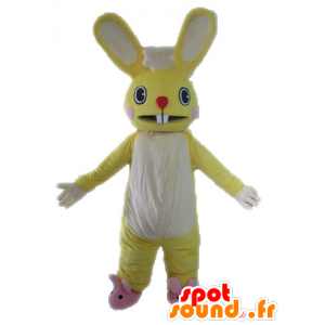 Yellow and white bunny mascot, giant and funny - MASFR028612 - Rabbit mascot