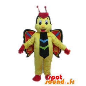 Žlutý motýl maskot, červené a černé