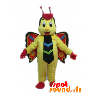 Gul sommerfugl maskot, rød og svart