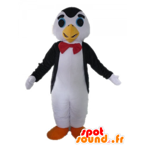 Black and white penguin mascot with a bow tie - MASFR028615 - Penguin mascots