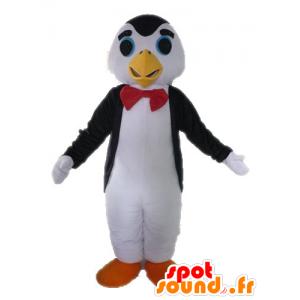 Blanco y negro de la mascota pingüino con una corbata de lazo - MASFR028615 - Mascotas de pingüino