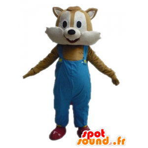 Mascot squirrel brown and beige overalls - MASFR028618 - Mascots squirrel