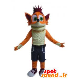 Mascotte de Crash Bandicoot, renard célèbre de jeu vidéo - MASFR028619 - Mascottes Renard