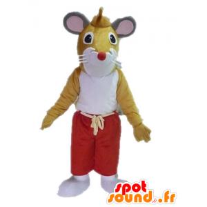 Mascota de color marrón y blanco del ratón. gigante rata mascota - MASFR028622 - Mascota del ratón