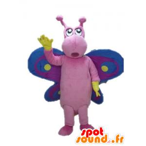 Mascotte de papillon rose, violet et bleu, drôle et coloré