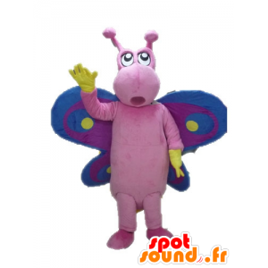 Maskot růžový motýl, fialové a modré, zábavný a barevný