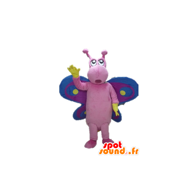 Mascot pink butterfly, purple and blue, funny and colorful - MASFR028623 - Mascots Butterfly