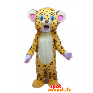Mascot yellow and brown tiger. Cub mascot - MASFR028628 - Tiger mascots