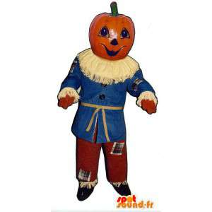 Halloween pompoen mascotte. vogelverschrikker Kostuum