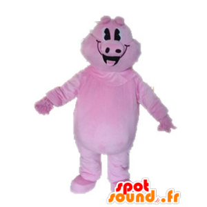 Pink pig mascot, giant and smiling - MASFR028631 - Mascots pig