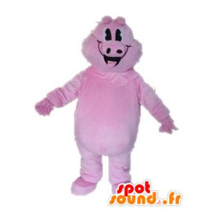 Rosa Schwein Maskottchen, Riese und lächelnd - MASFR028631 - Maskottchen Schwein