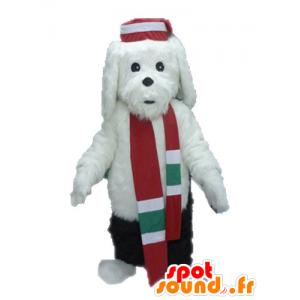 Maskottchen von schwarzen und weißen Hund, weich und haarig - MASFR028637 - Hund-Maskottchen