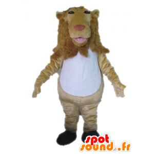 Beige and white lion mascot, giant - MASFR028638 - Lion mascots
