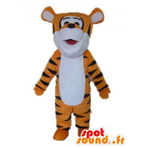 Oranssi tiikeri maskotti, valkoinen ja musta. Tigger Mascot - MASFR028639 - Tiger Maskotteja