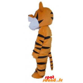 Orange Tiger-Maskottchen, weiß und schwarz. Tigger Maskottchen - MASFR028639 - Tiger Maskottchen