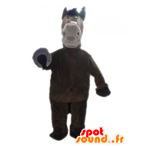Horse mascot brown and beige, giant - MASFR028644 - Mascots horse