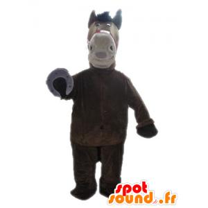 Pferd Maskottchen braun und beige, Riese - MASFR028644 - Maskottchen-Pferd
