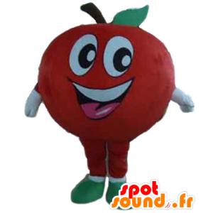 Mascotte de pomme rouge géante et souriante