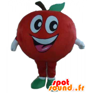Gigante mascote sorriso da maçã e vermelho - MASFR028647 - frutas Mascot