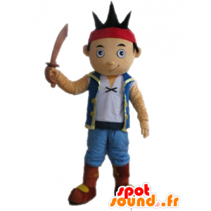 Brown boy mascot dressed as pirate - MASFR028656 - Mascottes de Pirate