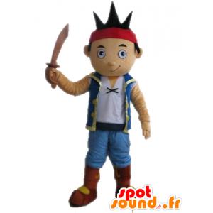 Bruine jongen mascotte kleedde zich als piraat - MASFR028656 - mascottes Pirates