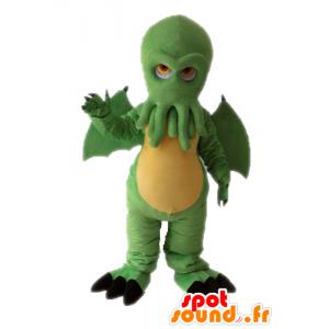 Green dragon mascot head with octopus - MASFR028658 - Dragon mascot
