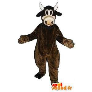 Brązowa krowa maskotka. krowa kostium