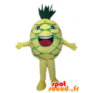 Mascot gelbe und grüne Ananas Riese. Mascot Obst - MASFR028666 - Obst-Maskottchen