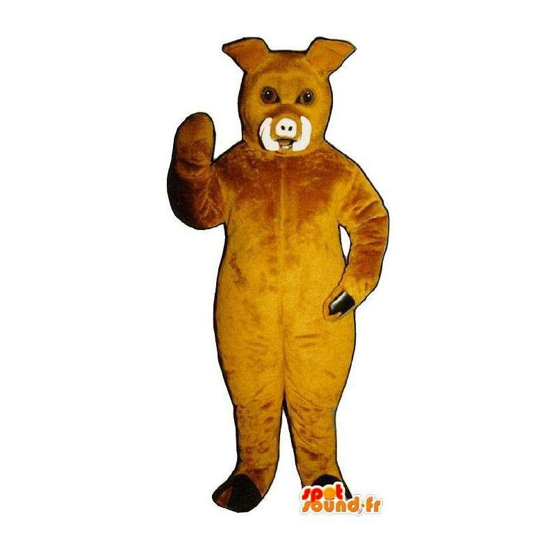 Boar Maskottchen gelb Schwein - MASFR007270 - Maskottchen Schwein