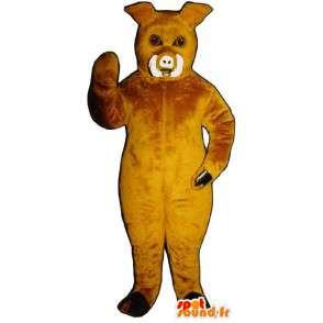 Boar mascot, yellow pig - MASFR007270 - Mascots pig